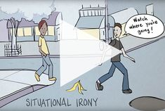 Use this delightful, interactive video in your middle school ELA classroom for teachable examples of situational irony! Makes this tricky concept super easy to understand! Literary Terms, Literary Elements, Middle School Writing, Middle School English, Teaching Strategies, Teaching Tools, Teaching Ideas, Teaching Resources, Situational Irony