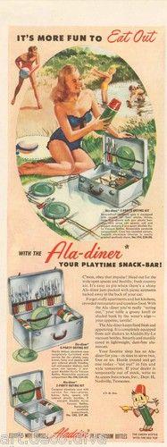 1940s vintage ALADDIN Vacuum Bottle PICNIC BASKET Swimsuit Girl ALUMINUM CASE Ad