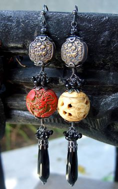 Custom Earrings made using customer's own antique Japanese Ojime (Cinnibar and Ivory) and metal beads....by Elizabeth Payne for www.jewelryartsstudio.com