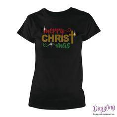 Christmas Bling Tees - Merry Christ Mas Rhinestone T-Shirt https://www.facebook.com/dazzlingdesignsapparelinc/shop/?rid=120026918013446&rt=9