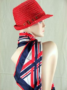 b6f13f564f7 Ladies Vintage Bright Red Cellophane High Dome Hat - Perfect for elevated  hairstyles!  22