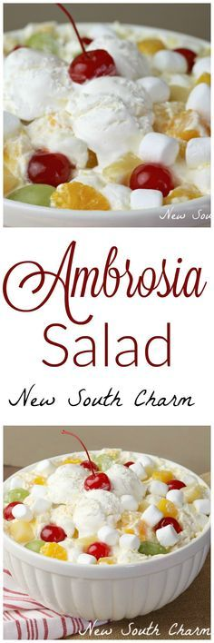 Ambrosia Salad is a creamy fruit salad that's perfect for feeding a crowd at Thanksgiving or Christmas.