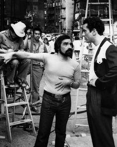 "Martin Scorsese and Robert De Niro on-set of ""Raging Bull"" (1980)"
