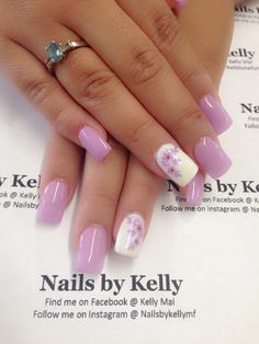 Gel nails with spring flowers