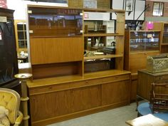 Large Display Cabinet / Wall Unit With Drinks Bureau, Cupboards, Drawers & Shelves,  H193cm W200cm D45cm - £45 (PC242) Local delivery service available, 5000 sq ft Showroom OPEN Mon - Sat 10am - 7pm & Sun 12 - 4pm,