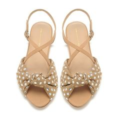 Brown and silver-polka dotted sandals