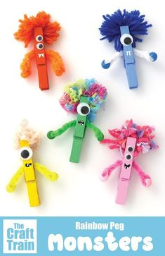Peg monster craft for kids. Paint pegs and decorate to look like monsters for Ha… Sponsored Sponsored Peg monster craft for kids. Paint pegs and decorate to look like monsters for Halloween – so cute! Love their fluffy yarn hair. Easy Crafts For Kids, Summer Crafts, Fall Crafts, Art For Kids, Kids Diy, Crafts Toddlers, Holiday Crafts, Creative Crafts, Children Crafts