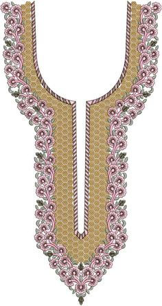 V Neck / Gala Embroidery Design Embroidery Neck Designs, Hand Work Embroidery, Embroidery Suits, Embroidery Patterns, Textile Pattern Design, Textile Patterns, Kurti Neck Designs, Blouse Designs, Gala Design