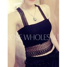 Stylish Square Neck Lace Hollow Out Butterfly Pattern Tank Top For Women