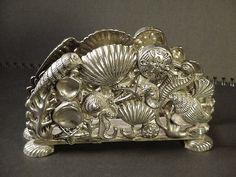 Godinger Silver Seashell Seahorse Starfish Sand Dollar Etc Napkin Holder 1994