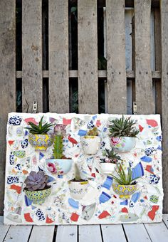 Don't throw away your beautiful broken plates and bowls why not upcycle them into a mosaic wall planter for your succulents or bedding plants. Mosaic Projects, Diy Projects, Reuse Wine Bottles, Hosta Flower, Garden Frogs, Succulent Wall, Diy Planters, Mosaic Planters, Mosaic Garden Art