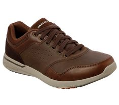 Shop for Men's Skechers Relaxed Fit Elent Velago Sneaker Brown. Get free delivery On EVERYTHING* Overstock - Your Online Shoes Outlet Store! Skechers Sneakers, Mens Skechers, Brown Sneakers, Tenis Casual, Casual Loafers, Casual Shoes, Ecco Shoes Mens, Skechers Relaxed Fit, Men Styles