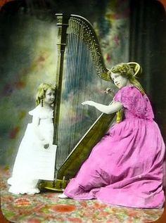 C1900 Woman Playing Harp While Girl Watches Sheet Music Theater Ad Lantern Slide | eBay