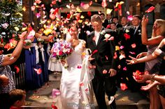 Wedding Photography - Bride and Groom getting flower pedals thrown at them Wedding Pictures, Picture Ideas, Wedding Flowers, Groom, Wedding Photography, Bride, Style, Wedding Shot, Stylus