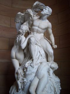 """Prometheus und die Okeaniden"" (Prometheus Bound and the Oceanids) by Eduard Müller, 1879, National gallery, Berlin. Chiseled out of a single block of marble"
