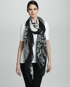 Agamy Floral Oversize Scarf, White/Black by Gucci at Bergdorf Goodman.