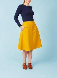Mademoiselle Yéyé: Karrygul A-line nederdel med lommer