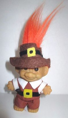 "Russ Troll Pilgrim Doll 4"" Orange Hair Dapper Gentleman with Hat Clothes #Russ #DollswithClothingAccessories"