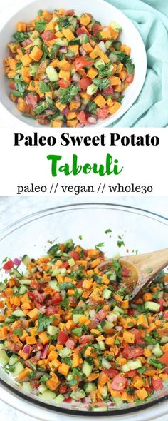 This Paleo Tabouli nixes the grains and uses sweet potatoes, making it grain free, gluten free, paleo, and Whole30 approved! - Eat the Gains