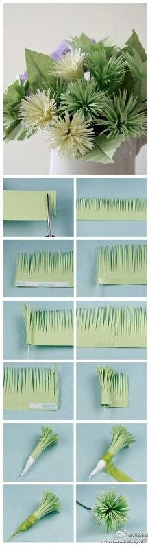 Green paper mums The tissue paper gives them a more realistic look.