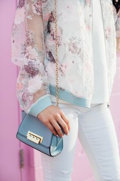 COLOR & CHIC | Floral bomber jacket over an all white look