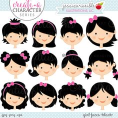 Black Hair Girl Faces - Create A Character Series - Cute Digital Clipart - Commercial Use OK - Mix & Match Sets to Create Your Own Character