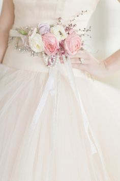 Fresh Flower Belt on Bridal Gown | photography by http://www.elisabethmillay.com/ | floral design by http://www.rebeccashepherdfloraldesign.com/