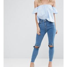 ASOS PETITE RIDLEY Skinny Jeans in Luella Pretty Blue with Frill Knee... (695 UYU) ❤ liked on Polyvore featuring jeans, blue, petite, blue skinny jeans, high waisted skinny jeans, super stretchy skinny jeans, petite jeans and blue jeans