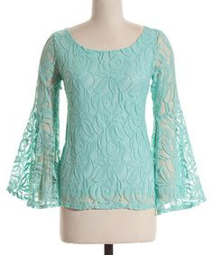 Mint Lace Flare Sleeve Scoop Neck Top by Coveted Clothing #zulily #zulilyfinds