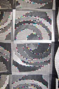 Love the tiny touches of color on this gray quilt by nic heart