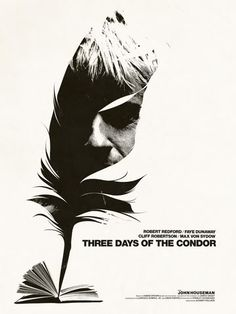 Jay Shaw's movie poster is a 1970's masterpiece. The design is timeless. The feather reminds me of my book project with the feather quill pens. This is what caught my eye. The simple black and white imagery and use of negative space is impeccably done. And, hey, Robert Redford isn't looking so bad himself. The typeface choice is appropriate for the message and is not distracting from, but cohabitating with image. Remarkable that this design is still relavant today making it a truly great…