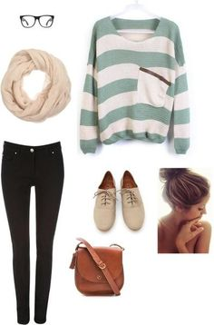 I found 'Casual Nerd Outfit' Big striped sweater, infinity scarf, black skinnies, and love the glasses