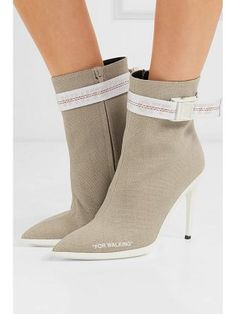 7b327c08d17 OFF-WHITE For Walking Buckled Canvas Ankle Boots