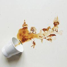 Chaque week-end, l'équipe de COOK AND JOY vous fait partager son coup de cœur culinaire.  Cette semaine, le travail fantastique de Giulia Bernardelli est à l'honneur. Cette artiste transforme des taches de café en de magnifiques illustrations culinaires ! Votre prochaine tasse renversée vous inspirera-t-elle...?  www.cookandjoy.fr