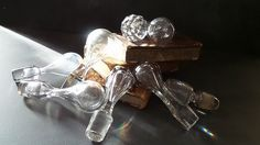 8 Vintage glass and crystal bottle stoppers by CabArtVintage