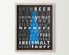 Beer Decor  Beer Poster  Kitchen Wall Decor  by DaphneGraphics