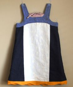 color blocked modification of o & S popover sundress - with slit in back instead of bias ties
