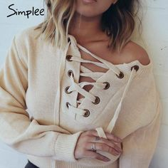 Simplee Apparel Lace Up Sweater - Sweaters - Look Love Lust https://www.looklovelust.com/products/simplee-apparel-lace-up-sweater