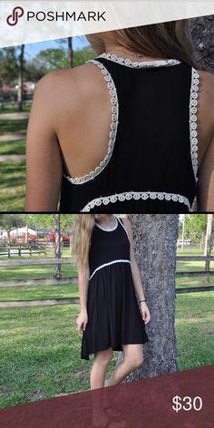 Black Dress with Lace Details Cute sun dress. Lace detailing. Dresses