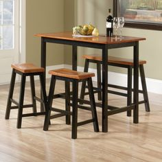 The Sauder Edge Water 4 Piece Counter Height Dinette Set has everything you need to upgrade your eating area. This solid wood constructed set includes a counter height table, two counter height stools, and one counter height bench. Kitchen Dining Sets, Dining Room Sets, Dining Room Table, Table And Chairs, A Table, Kitchen Tables, Wood Table, Chef Kitchen, Bag Chairs