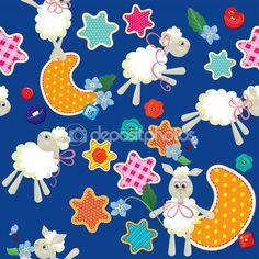 Бесшовный образец - сладкие мечты - игрушки овец, звезды и луна — Stock Illustration #55097317