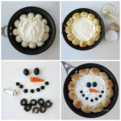 Skillet Dip Snowman ~ Grab your skillet to make this super simple Christmas appetizer. Christmas Food Gifts, Christmas Dishes, Christmas Brunch, Christmas Appetizers, Simple Christmas, Christmas Apps, Christmas Cooking, Holiday Treats, Christmas Recipes