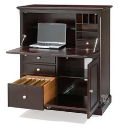 Metro Office Compact Computer Armoire Desk in Expresso Finish