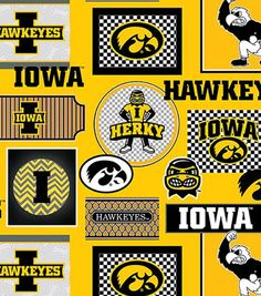 """University of Iowa Hawkeyes Cotton Fabric 44"""" - Packed Patches"""