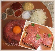 Kvalitní zadní hovězí maso – nejlépe pravou svíčkovou, žloutek, plnotučnou hořčici, kečup, mletou červenou papriku, mletý kmín, sůl, pepř, najemno nakrájenou cibuli Maso naškrábeme nebo několikrát najemno semeleme a přidáme ostatní suroviny dle chuti. Z chleba upečeme topinku – nejlépe … Celý příspěvek → Hamburger, Steak, Food And Drink, Appetizers, Beef, Cooking, Hot, Recipes, Meat