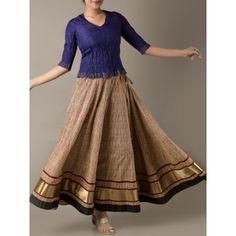 Buy Rust & Beige Block Printed Kalidaar & Gota Trim Long Cotton Skirt by Jaipur Piatara at Craftisan.in