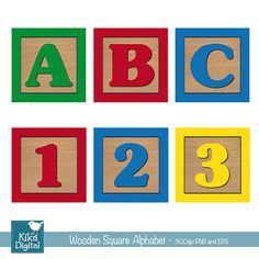 Baby Blocks Alphabet and Numbers Digital Clipart by DigiKika