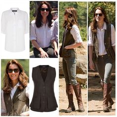 Tour update: Day 6 For a 6 hour trek to the Tigers beat monastery in Bhutan, the duchess wore: Top: Jaeger white 'linen classic blouse' (£89) Jeans: still unknown, but I'm either guessing Zara or JBrand  Waistcoat: Really wild clothing 'Nubuck shoot waistcoat' in dark brown (£495) Boots: Penelope Chilvers 'long tassel' in brown (£475) Sunglasses: Rayban 'wayfarers' in tortoise (£100) Earrings: Kiki McDonough 'classic citrine drops' (£495)
