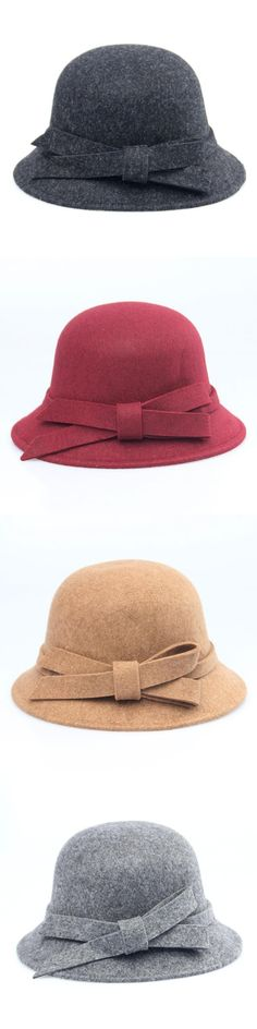 f3f87072 new Wide Brim Felt Hat Fedora Hats For Women Big Bow Of Fall Winter Chapeu  Feminino Sombrero Floppy Bowler Ladies Bucket Cap