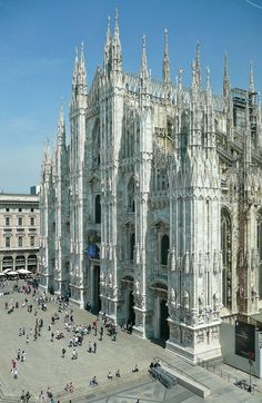 Duomo of Milan, Italy. Piazza del Duomo is the main piazza of Milan, Italy. It is named after, and dominated by, the Milan CathedralThe Gothic cathedral took nearly six centuries to complete. It is the fifth largest cath… Milan Cathedral, Cathedral Church, Gothic Cathedral, Places To Travel, Places To See, Duomo Milano, Milan Duomo, Wonderful Places, Beautiful Places